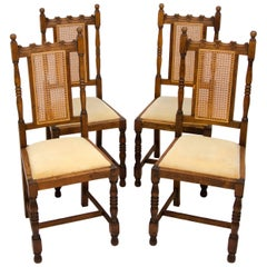 Set of Four Antique Oak English Dining Chairs