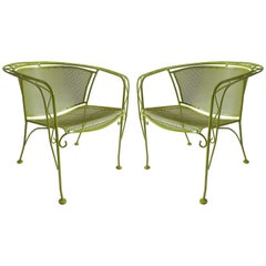 Mid-Century Modern Pair of Iron Garden Chairs by Tempestini for Salterini
