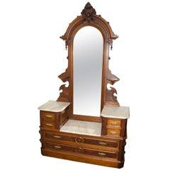 Antique Walnut American Renaissance Victorian Drop Well Dresser, Marble Tops