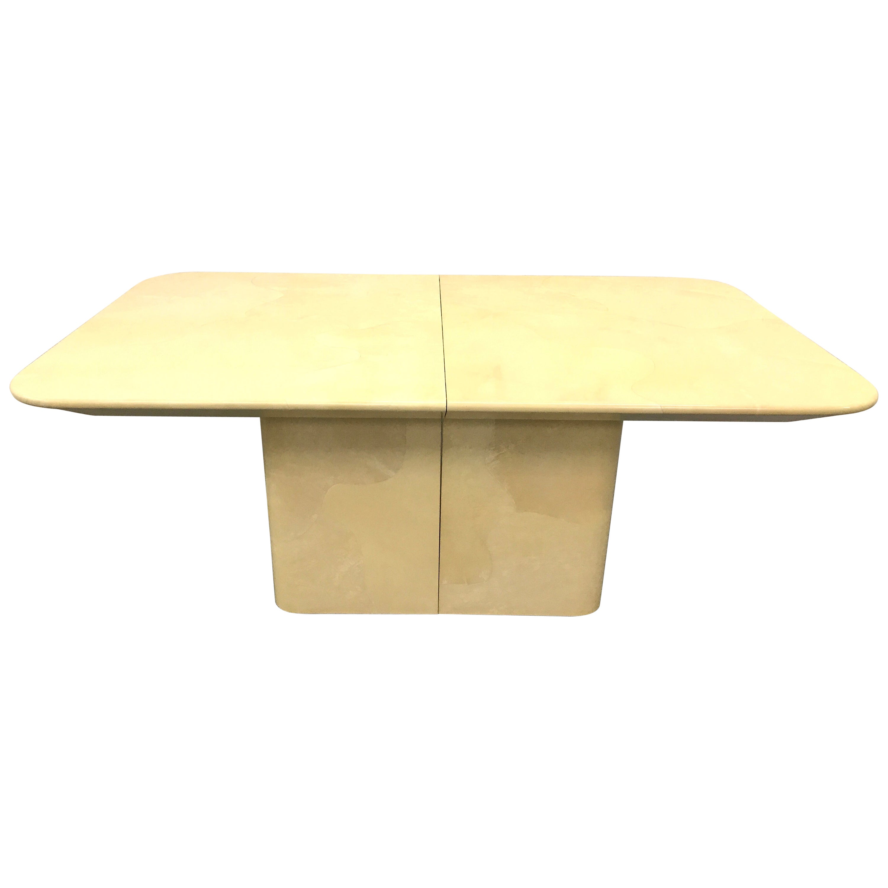Pair Of White Lacquer Amoeba Shape Cut Out Cube Tables For
