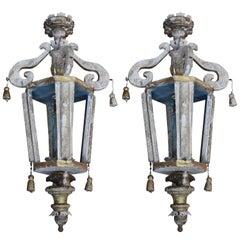 Pair of Italian Wood Church Lanterns