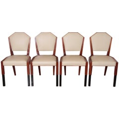 Art Deco Dynamique Creations Johnson Furniture Co. Set of Four Side Chairs