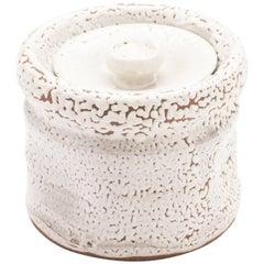 Vintage Japanese Shino Pottery Mizusashi Water Pot for Tea Ceremony