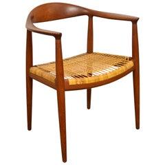 Hans Wegner Round Chairs in Teak and Cane