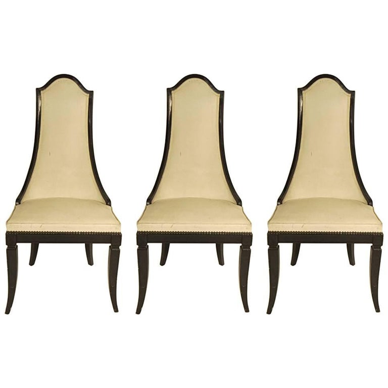 Three 1970s Extended Back Side Chairs