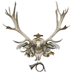 Antique Habsburg Red Stag on 18th Century Acanthus Leaf and Gilt Ribbon Plaque