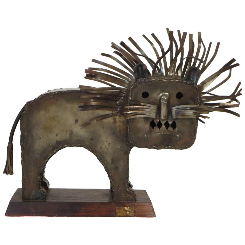 1970s Signed Metal Lion Sculpture