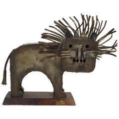 1970s Signed Metal Lion Sculpture