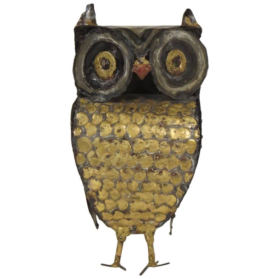1970s Metal Owl Sculpture by Garfinkle
