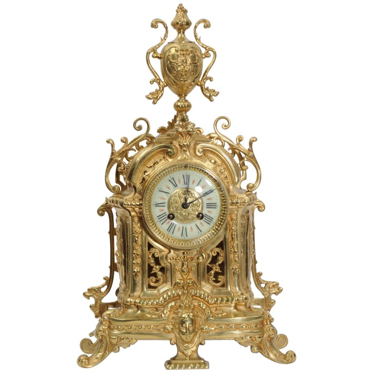 Antique French Gilt Bronze Boudoir Clock by Louis Japy