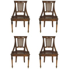 Four 1960s Regency Style Caned Italian Side Chairs