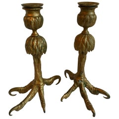Pair Gold Talon Foot Candle Holders