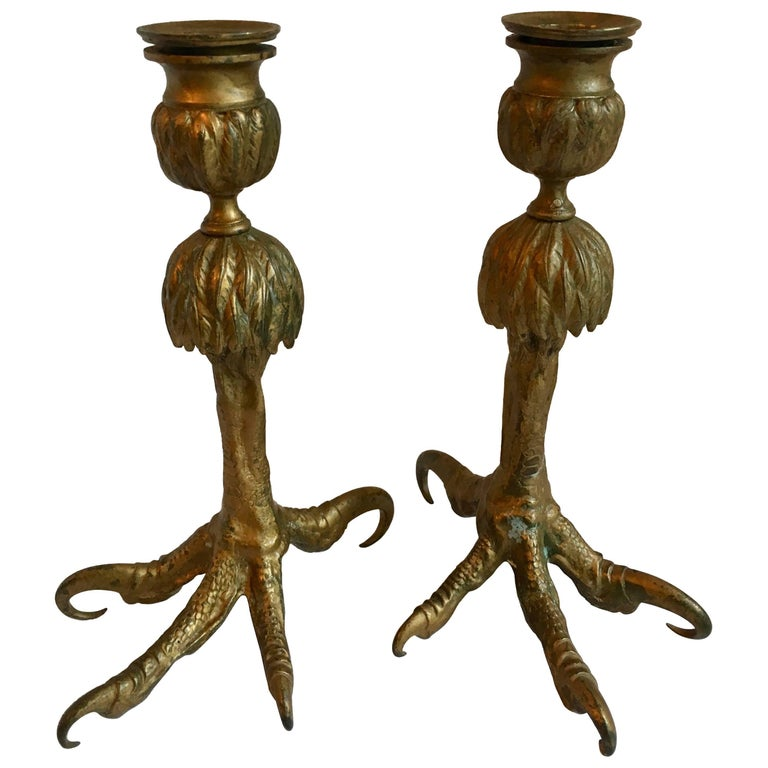 Pair Gold Talon Foot Candle Holders For Sale