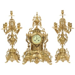Large Antique French Gilt Bronze Clock Set by Louis Japy