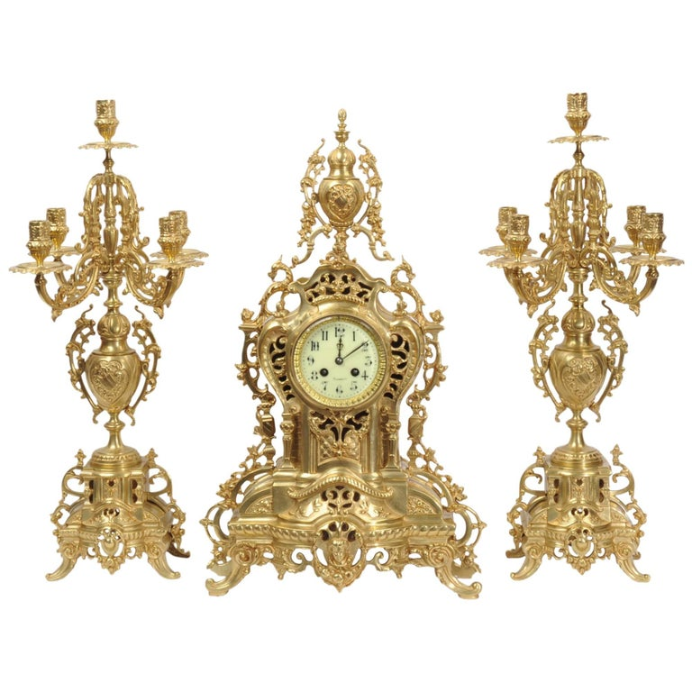 Large Antique French Gilt Bronze Clock Set by Louis Japy For Sale