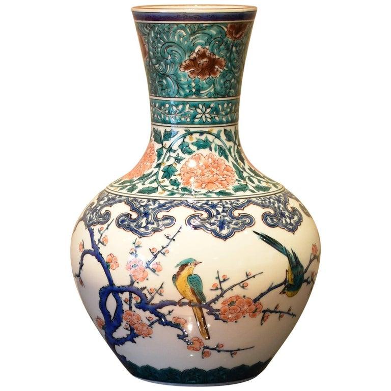 Kutani Hand-Painted Decorative Porcelain Vase by Japanese Master Artist