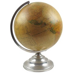 French Barrere & Thomas Terrestrial Glass Globe and Lamp on Aluminum Stand