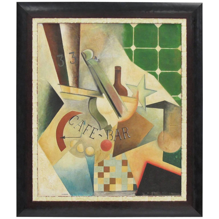Art Deco Cubist Gouache and Collage on Board Painting by Chiokine