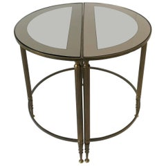 Midcentury Directoire Brass and Glass Round Side Table
