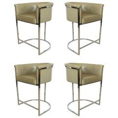 Set of Four Cantilevered Milo Baughman Style Chrome Bar Stools