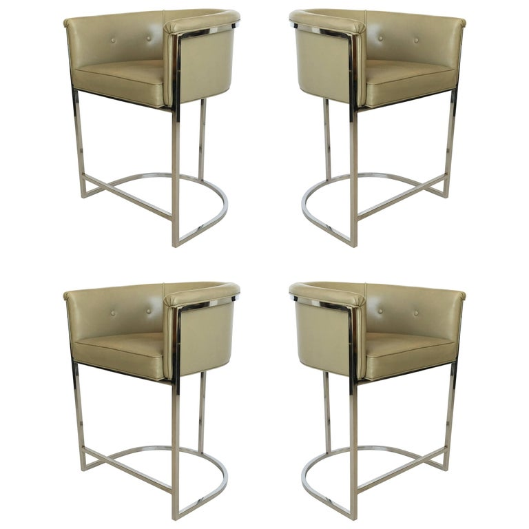 Set of Four Cantilevered Milo Baughman Style Chrome Bar Stools
