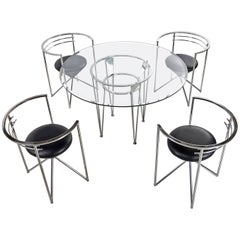 1980s Chrome and Glass Art Deco Modern Dining Set by Minson of CA, New Leather