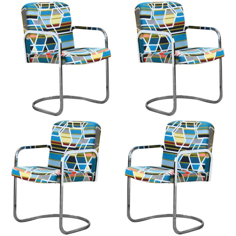 Design Institute of America Set of Four Chairs with Maharam Fabric