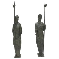 French Pair of Life-size Bronze Statues Sculpture Middle Ages Knight in Armor