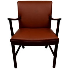 Midcentury Rosewood Armchair by Ole Wanscher, Upholstered with Aniline Leather