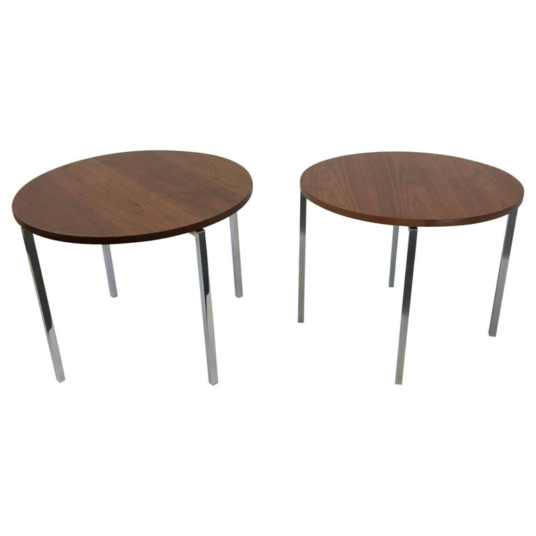 Pair of Walnut and Polished Stainless Steel Side Tables by Florence Knoll