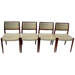 Four Danish Midcentury Dining Chairs by Niels O. Møller, Model 80, J.L. Møllers