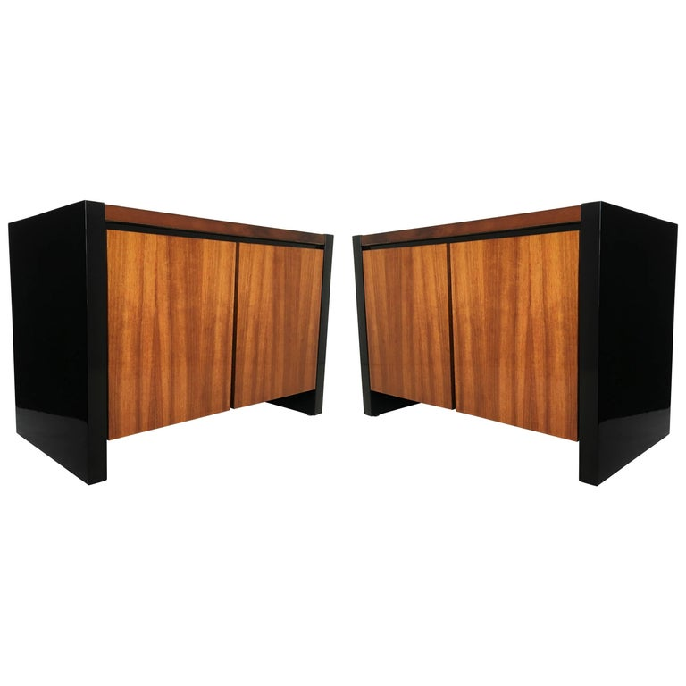 Pair of Black Lacquer and Koa Wood Nightstands by Henredon