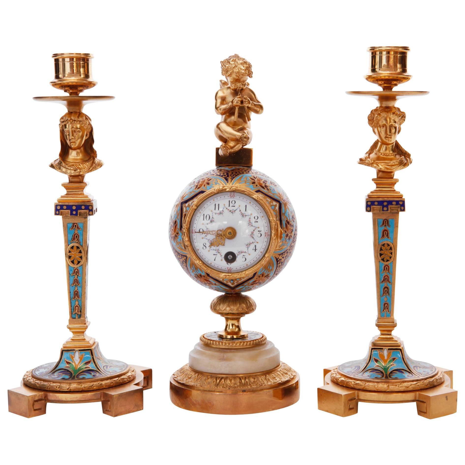 French Champleve Gilt Bronze and Enamel Clock Garniture
