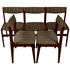 Set of Five Danish Midcentury Dining Chairs by Erik Buch, Teak, Woolen Fabric