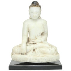 Antique 19th Century Burmese Alabaster Seated Buddha Sculpture, Mandalay Style