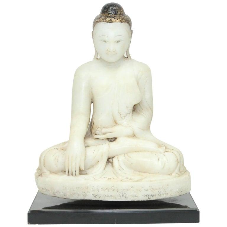 Antique 19th Century Burmese Alabaster Seated Buddha Sculpture, Mandalay Style