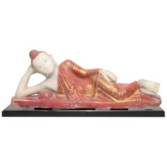Antique Burmese Alabaster Reclining Buddha, Mandalay Style, 19th Century