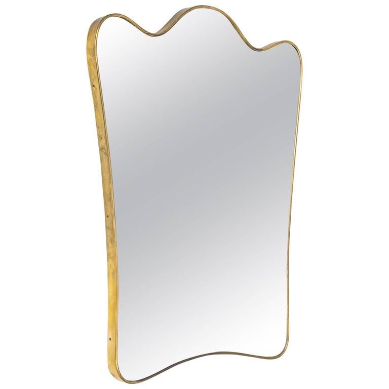 Exceptional Italian Brass Mirror, 1940s