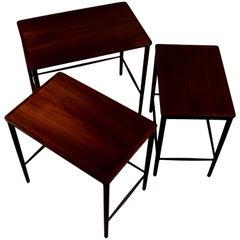 Three Midcentury Nesting Tables by Kaj Winding, Teak, P. Jeppesens Møbelfabrik