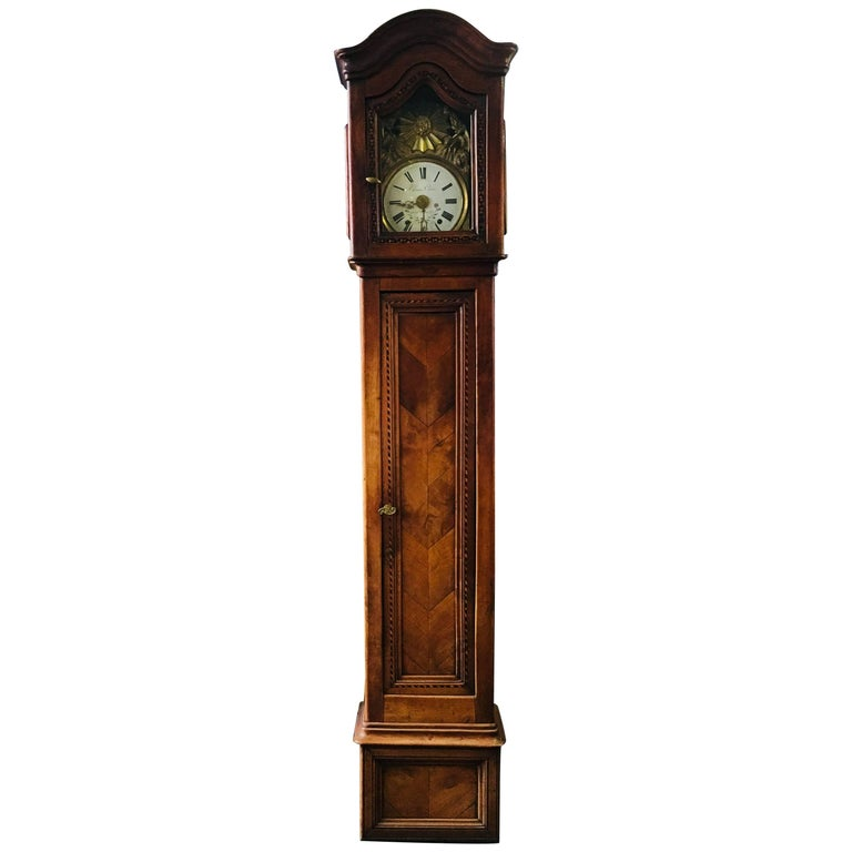 18th Century French Provincial Fruitwood Longcase Clock in Louis XVI Style
