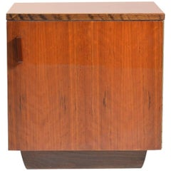 Cube Bedside Table in Wood and Veneer, Czechoslovakia circa 1950