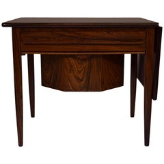 Danish Midcentury Sewing Table with Drop-Leaf by Johannes Andersen, Rosewood