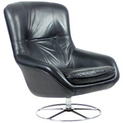 Midcentury Black Leather Chair by Peem, Finland, circa 1960