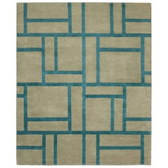 Contemporary Tibetan Rug Hand-Knotted in Nepal, Turquoise - Green Brown