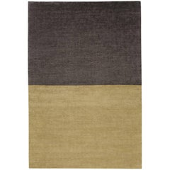 Contemporary Tibetan Rug Hand-Knotted in Nepal, Dark Gold - Purple Brown