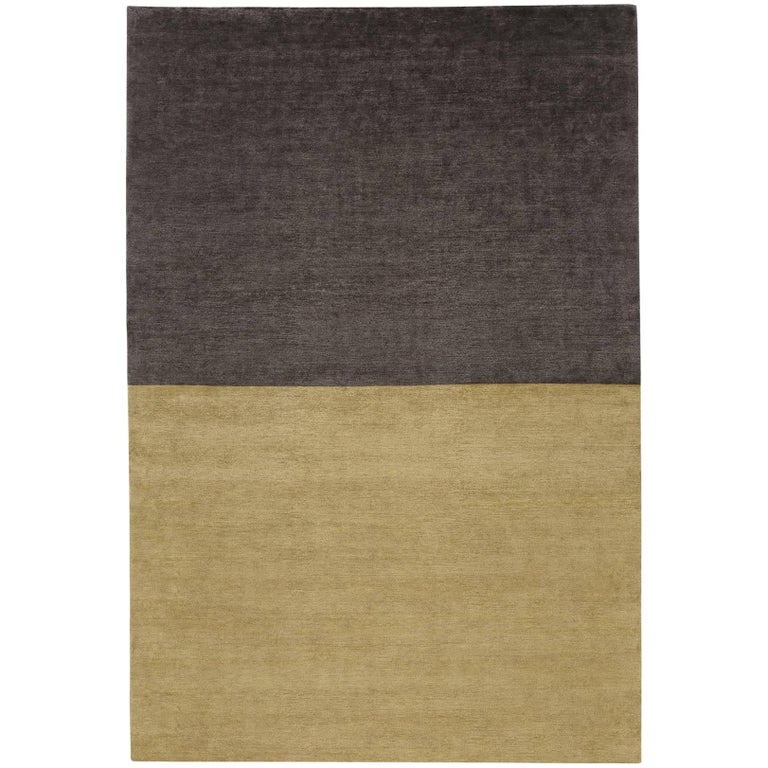 Contemporary Tibetan Rug Hand Knotted In Nepal Dark Gold Purple Brown