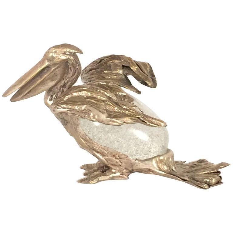 Rare Signed Gabriella Crespi Bird Pelican Sculpture, 1970s, Italy