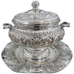 20th Century Italian Stering Silver Baroque revival round Tureen plus dish