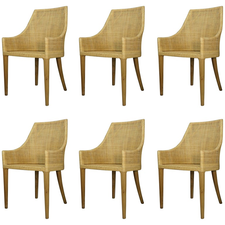 Set of Six Dining Armchairs Rattan and Wooden