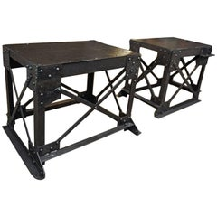 Pair of Factory Industrial iron Console Tables 1920s